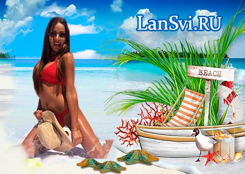 Морской пляж онлайн фоторамка